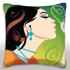 Maxwell Dickson Playful Woman Blowing Dandelion Seeds Throw Pillow