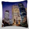 Maxwell Dickson Downtown Houston Skyline at Night Throw Pillow