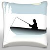 Maxwell Dickson Fisherman in Boat Throw Pillow