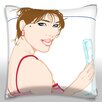 Maxwell Dickson Woman Posing with Champagne Glass Throw Pillow