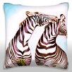 Maxwell Dickson Pair of Zebras Standing Outdoors Throw Pillow