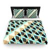 KESS InHouse Glitter Triangles in Gold and Teal by Nika Martinez Woven Duvet Cover