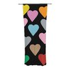 KESS InHouse Hearts Color on Black Curtain Panels (Set of 2)
