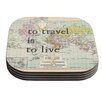 KESS InHouse To Travel Is To Live by Catherine Holcombe Coaster (Set of 4)
