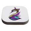 KESS InHouse Dreams Swan by Pom Graphic Design Coaster (Set of 4)