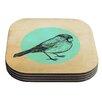 KESS InHouse Old Paper Bird by Sreetama Ray Coaster (Set of 4)