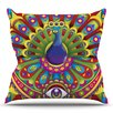 KESS InHouse Peacolor by Roberlan Rainbow Peacock Throw Pillow