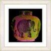 "Studio Works Modern ""Elephant Urn  - Golden Orange"" by Zhee Singer Framed Fine Art Giclee Painting Print"