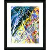 "Studio Works Modern ""Right as Rain - Blue"" by Zhee Singer Framed Fine Art Giclee Painting Print"