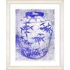 "Studio Works Modern ""Bamboo Urn - Blue"" by Zhee Singer Framed Fine Art Giclee Print"