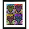 "Studio Works Modern ""Four Hearts"" by Zhee Singer Framed Fine Art Giclee Painting Print"