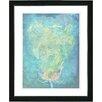 "Studio Works Modern ""Blue Dansing Bud - Turquoise"" by Zhee Singer Framed Fine Art Giclee Painting Print"