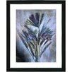 "Studio Works Modern ""Harvest Floral - Blue"" by Zhee Singer Framed Fine Art Giclee Painting Print"