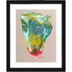 "Studio Works Modern ""Green Flower Bud"" by Zhee Singer Framed Fine Art Giclee Painting Print"