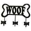 "DEI Lucky Dog Bone Shaped ""Woof"" Leash Wall Hook Rack"