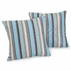 Home Loft Concept Carnegie Celeste Striped Sunbrella Pillow (Set of 2)