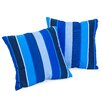 Home Loft Concept Milano Colbalt Blue Striped Sunbrella Pillow (Set of 2)