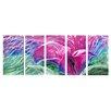 Pure Art Abstract Sculptures Violet Blossom 5 Piece Original Painting Plaque Set