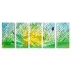 <strong>Flower Sculptures Garden of Dawn 5 Piece Original Painting Plaque Set</strong> by Pure Art