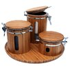 4 Piece Bamboo Canister Set