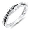 <strong>10K White Gold Round Cut Diamond Swirl Anniversary Wedding Band</strong> by Dazzling Rock