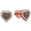 Dazzling Rock Round Cut Diamond Heart Stud Earrings