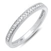 <strong>Dazzling Rock</strong> 10K White Gold Round Cut Diamond Milgrain Anniversary Wedding Band