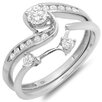 <strong>Dazzling Rock</strong> 10K White Gold Round Cut Diamond Swirl Bridal Set