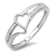 <strong>Dazzling Rock</strong> 10K White Gold Love Round Cut Diamond Heart Promise Ring