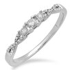 <strong>Dazzling Rock</strong> 10K White Gold Round Cut Diamond Crossover Swirl Ring