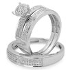 Dazzling Rock Sterling Silver Round Cut Diamond Bridal Trio