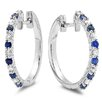 <strong>Dazzling Rock</strong> Round Cut Diamond and Sapphire Huggie Hoop Earrings