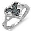 <strong>Dazzling Rock</strong> Sterling Silver Round Cut Diamond Heart Promise Ring