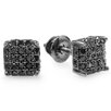 Dazzling Rock Men's Hip Hop Dice Round Cut Diamond Stud Earrings