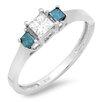 Dazzling Rock 10K White Gold Princess Cut Diamond Ring