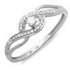 <strong>Dazzling Rock</strong> 10K White Gold Round Cut Diamond Promise Ring