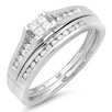 <strong>Dazzling Rock</strong> 10K White Gold Princess Cut Diamond Bridal Set