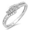 Dazzling Rock 10K White Gold Round Cut Diamond Promise Ring