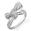Dazzling Rock Sterling Silver Round Cut Diamond Ribbon Knot Cocktail Ring