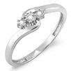 Dazzling Rock Sterling Silver Swirl Round Cut Diamond Ring
