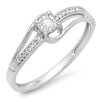<strong>Dazzling Rock</strong> 10K White Gold Round Cut Diamond Wave Ring