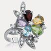 <strong>Drukker Designs</strong> Rainbow Sterling Silver Pear-shape Gemstone Ring