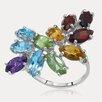Drukker Designs Rainbow Sterling Silver Marquise Cut Gemstone Ring