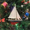 Handcrafted Model Ships American Christmas Tree Ornament Sailboat