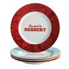 "Cake Boss 4 Piece ""Patterns and Quotes"" Serveware Porcelain Dessert Plate Set"