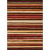 Kalora Mansoori Textured Red Stripes Area Rug