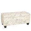 Cortesi Home Fitzgerald Script Upholstered Storage Bench