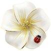 <strong>Fantasyard</strong> Hawaiian Plumeria With Ladybug Flower Crystal Brooch Pendant