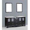 """Bosconi Contemporary 72"""" Double Bathroom Vanity Set with Mirror"""