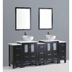 "Bosconi Contemporary 84"" Vanity Set with Double Sink"